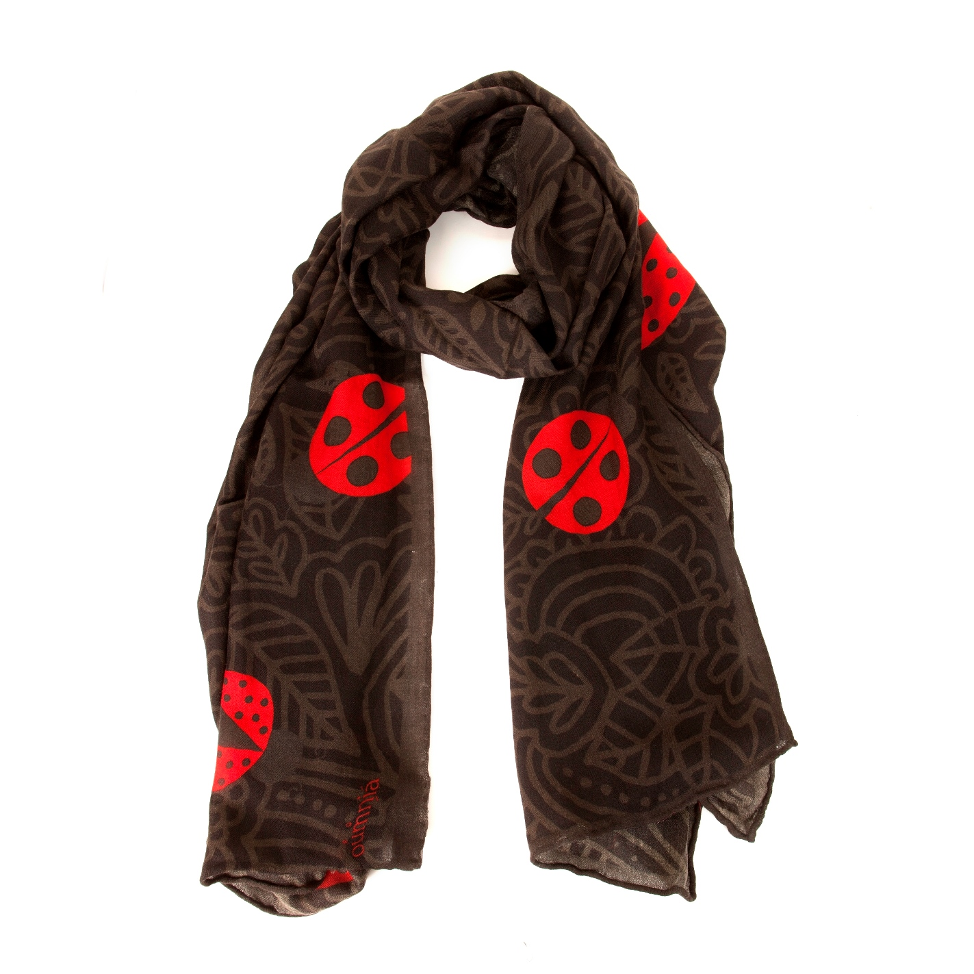 Ladybug Design Scarf on Soft Wool