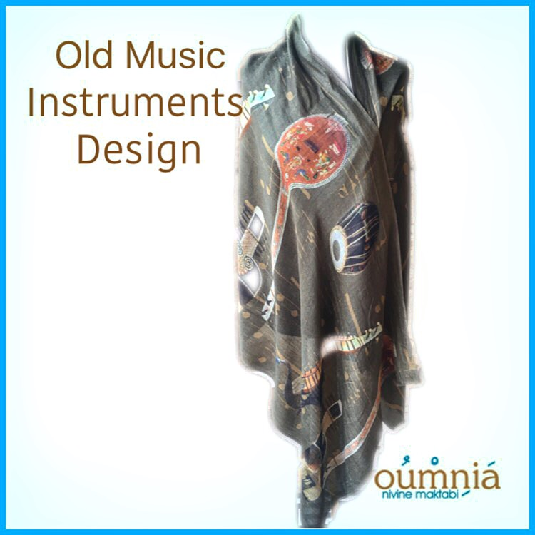 Old Music Instruments Design Cashmere Shawl