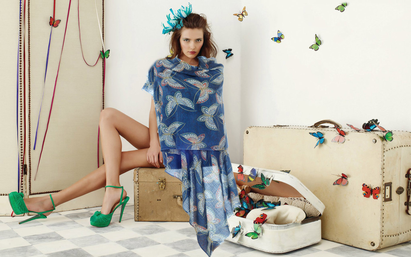Flying Butterflies on Pure Cashmere